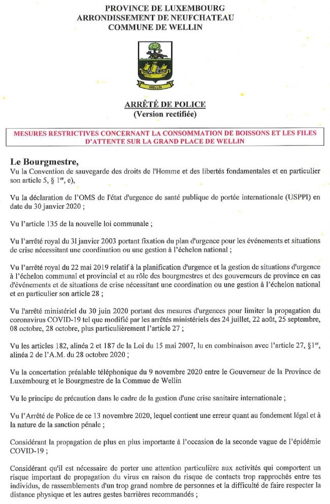wellin,commune,arrêté,police,vente,consommation,alcool,file,attente,interdiction,covid,19,coronavirus,grand,place,bourgmestre,blog,sudinfo,sudpresse,la meuse,luxembourg,province,philippe,alexandre,pandémie,épidémie,confinement,frite,mireille