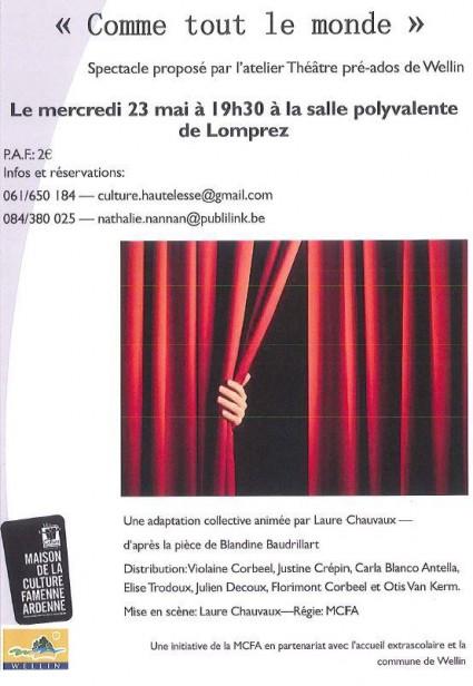 théâtre,lomprez,wellin,atelier théâtre pré-ados,comme tout le monde,blog wellin,blog de wellin,philippe alexandre,la meuse,la meuse luxembourg,sudinfo,sudpresse,commune de wellin,jeunes